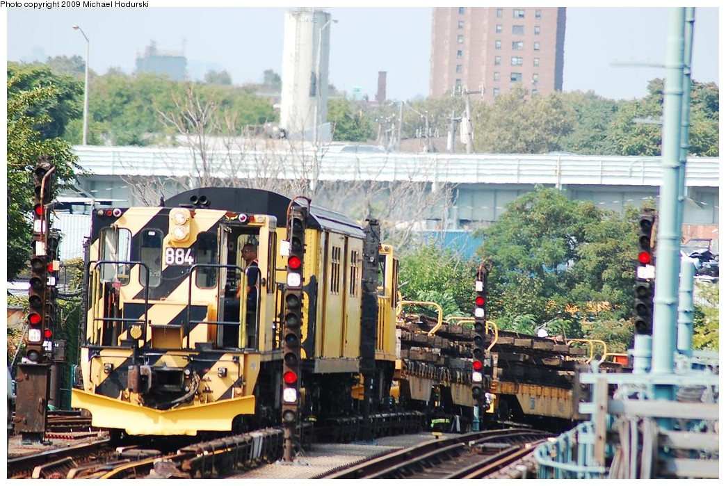 (281k, 1044x699)<br><b>Country:</b> United States<br><b>City:</b> New York<br><b>System:</b> New York City Transit<br><b>Location:</b> Coney Island/Stillwell Avenue<br><b>Route:</b> Work Service<br><b>Car:</b> R-77 Locomotive  884 <br><b>Photo by:</b> Michael Hodurski<br><b>Date:</b> 8/29/2008<br><b>Viewed (this week/total):</b> 1 / 1042