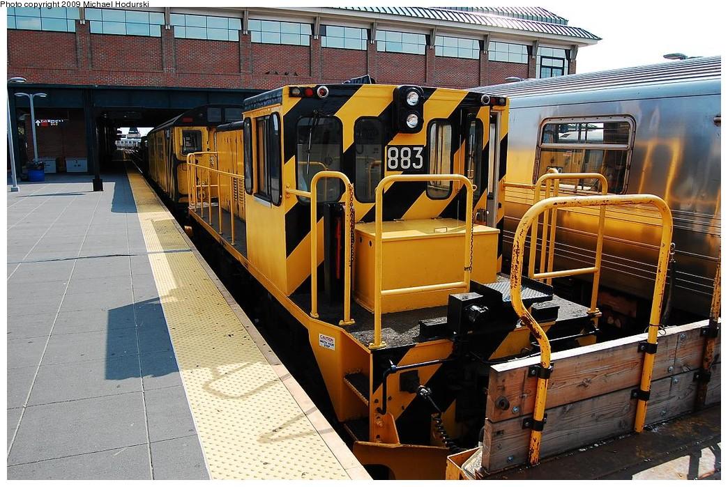 (288k, 1044x699)<br><b>Country:</b> United States<br><b>City:</b> New York<br><b>System:</b> New York City Transit<br><b>Location:</b> Coney Island/Stillwell Avenue<br><b>Route:</b> Work Service<br><b>Car:</b> R-77 Locomotive  883 <br><b>Photo by:</b> Michael Hodurski<br><b>Date:</b> 8/29/2008<br><b>Viewed (this week/total):</b> 0 / 1158