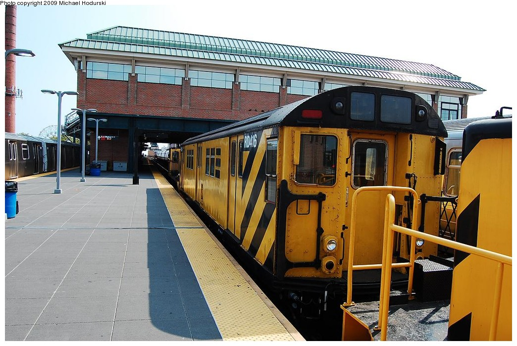 (260k, 1044x699)<br><b>Country:</b> United States<br><b>City:</b> New York<br><b>System:</b> New York City Transit<br><b>Location:</b> Coney Island/Stillwell Avenue<br><b>Route:</b> Work Service<br><b>Car:</b> R-161 Rider Car (ex-R-33)  RD416 (ex-8964)<br><b>Photo by:</b> Michael Hodurski<br><b>Date:</b> 8/29/2008<br><b>Viewed (this week/total):</b> 0 / 1094