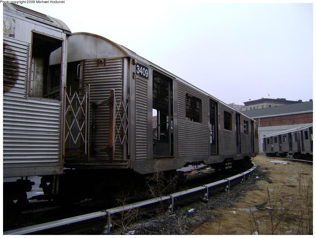 (216k, 1044x788)<br><b>Country:</b> United States<br><b>City:</b> New York<br><b>System:</b> New York City Transit<br><b>Location:</b> 207th Street Yard<br><b>Car:</b> R-32 (Budd, 1964)  3409 <br><b>Photo by:</b> Michael Hodurski<br><b>Date:</b> 12/27/2008<br><b>Notes:</b> Scrap<br><b>Viewed (this week/total):</b> 0 / 912