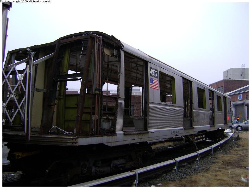 (187k, 1044x788)<br><b>Country:</b> United States<br><b>City:</b> New York<br><b>System:</b> New York City Transit<br><b>Location:</b> 207th Street Yard<br><b>Car:</b> R-40 (St. Louis, 1968)  4277 <br><b>Photo by:</b> Michael Hodurski<br><b>Date:</b> 12/27/2008<br><b>Notes:</b> Scrap<br><b>Viewed (this week/total):</b> 0 / 1257