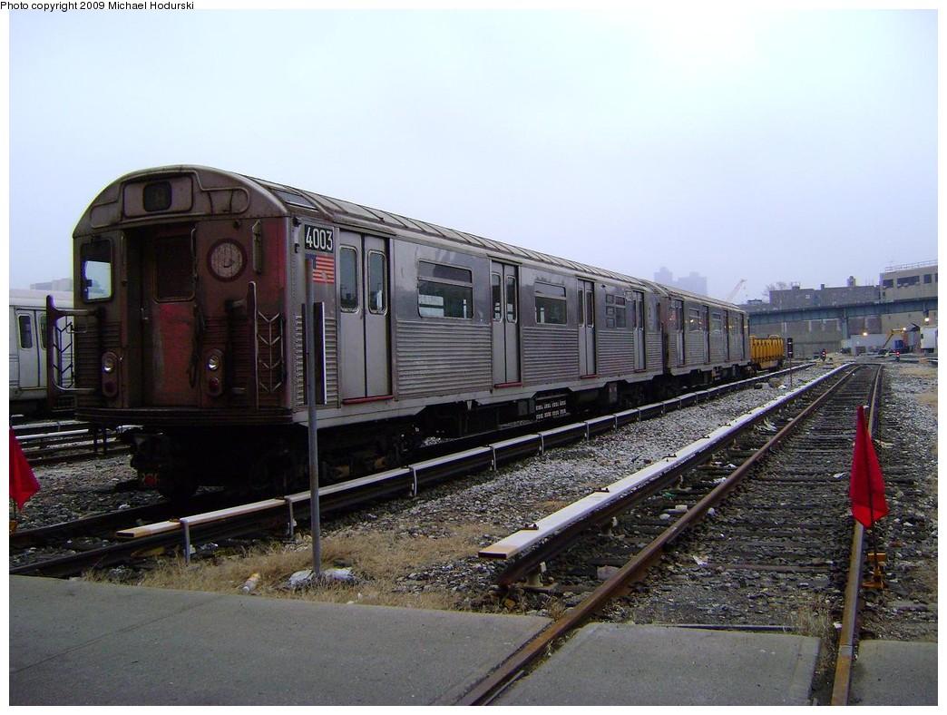 (229k, 1044x788)<br><b>Country:</b> United States<br><b>City:</b> New York<br><b>System:</b> New York City Transit<br><b>Location:</b> 207th Street Yard<br><b>Car:</b> R-38 (St. Louis, 1966-1967)  4003 <br><b>Photo by:</b> Michael Hodurski<br><b>Date:</b> 12/27/2008<br><b>Viewed (this week/total):</b> 2 / 902