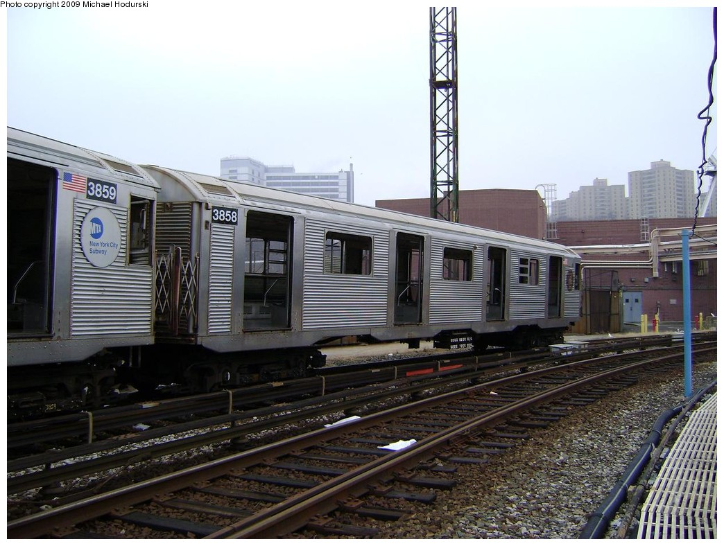 (238k, 1044x788)<br><b>Country:</b> United States<br><b>City:</b> New York<br><b>System:</b> New York City Transit<br><b>Location:</b> 207th Street Yard<br><b>Car:</b> R-32 (Budd, 1964)  3858 <br><b>Photo by:</b> Michael Hodurski<br><b>Date:</b> 12/27/2008<br><b>Notes:</b> Scrap<br><b>Viewed (this week/total):</b> 1 / 767