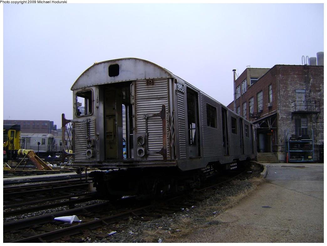 (203k, 1044x788)<br><b>Country:</b> United States<br><b>City:</b> New York<br><b>System:</b> New York City Transit<br><b>Location:</b> 207th Street Yard<br><b>Car:</b> R-32 (Budd, 1964)  3858 <br><b>Photo by:</b> Michael Hodurski<br><b>Date:</b> 12/27/2008<br><b>Notes:</b> Scrap<br><b>Viewed (this week/total):</b> 4 / 1014