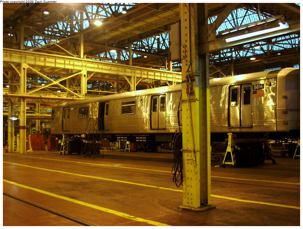(349k, 1044x788)<br><b>Country:</b> United States<br><b>City:</b> New York<br><b>System:</b> New York City Transit<br><b>Location:</b> Coney Island Shop/Overhaul & Repair Shop<br><b>Car:</b> R-46 (Pullman-Standard, 1974-75) 5814 <br><b>Photo by:</b> Zach Summer<br><b>Date:</b> 12/27/2008<br><b>Viewed (this week/total):</b> 2 / 1017