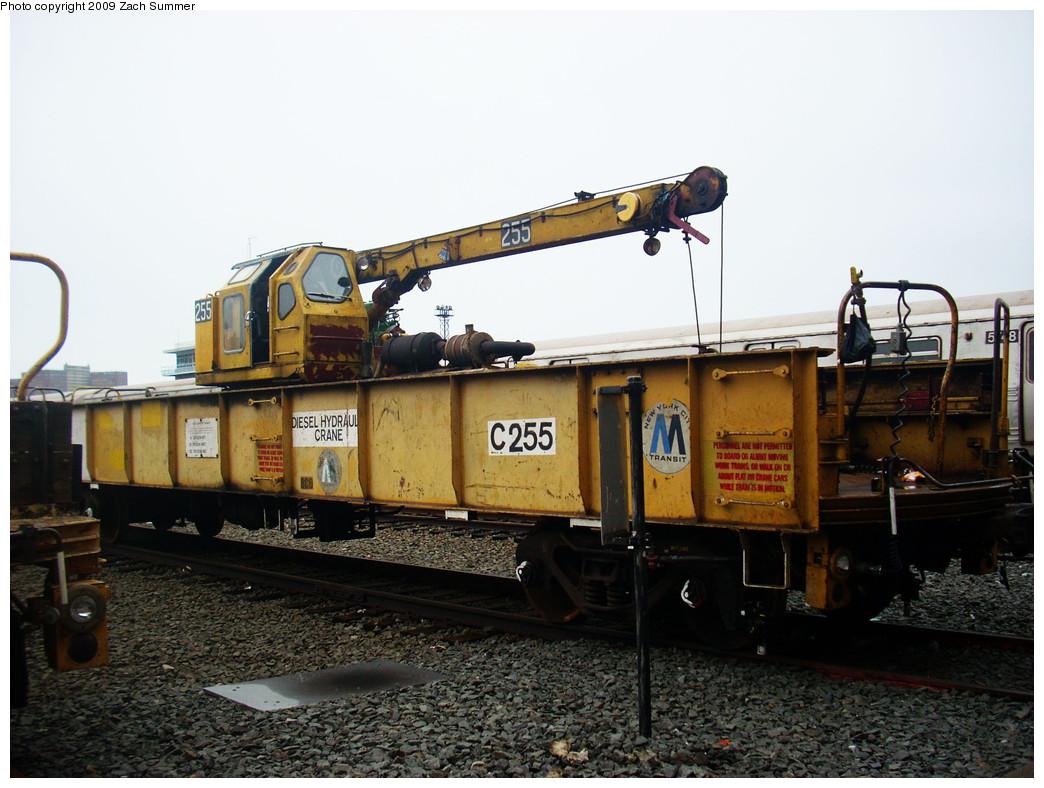 (255k, 1044x788)<br><b>Country:</b> United States<br><b>City:</b> New York<br><b>System:</b> New York City Transit<br><b>Location:</b> Coney Island Yard<br><b>Car:</b> Crane Car 255 <br><b>Photo by:</b> Zach Summer<br><b>Date:</b> 12/27/2008<br><b>Viewed (this week/total):</b> 3 / 777