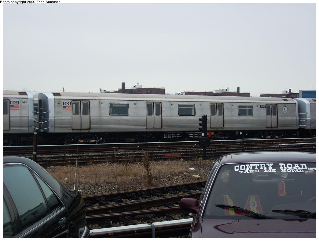 (212k, 1044x788)<br><b>Country:</b> United States<br><b>City:</b> New York<br><b>System:</b> New York City Transit<br><b>Location:</b> Coney Island Yard<br><b>Car:</b> R-46 (Pullman-Standard, 1974-75) 6103 <br><b>Photo by:</b> Zach Summer<br><b>Date:</b> 12/27/2008<br><b>Viewed (this week/total):</b> 1 / 1157