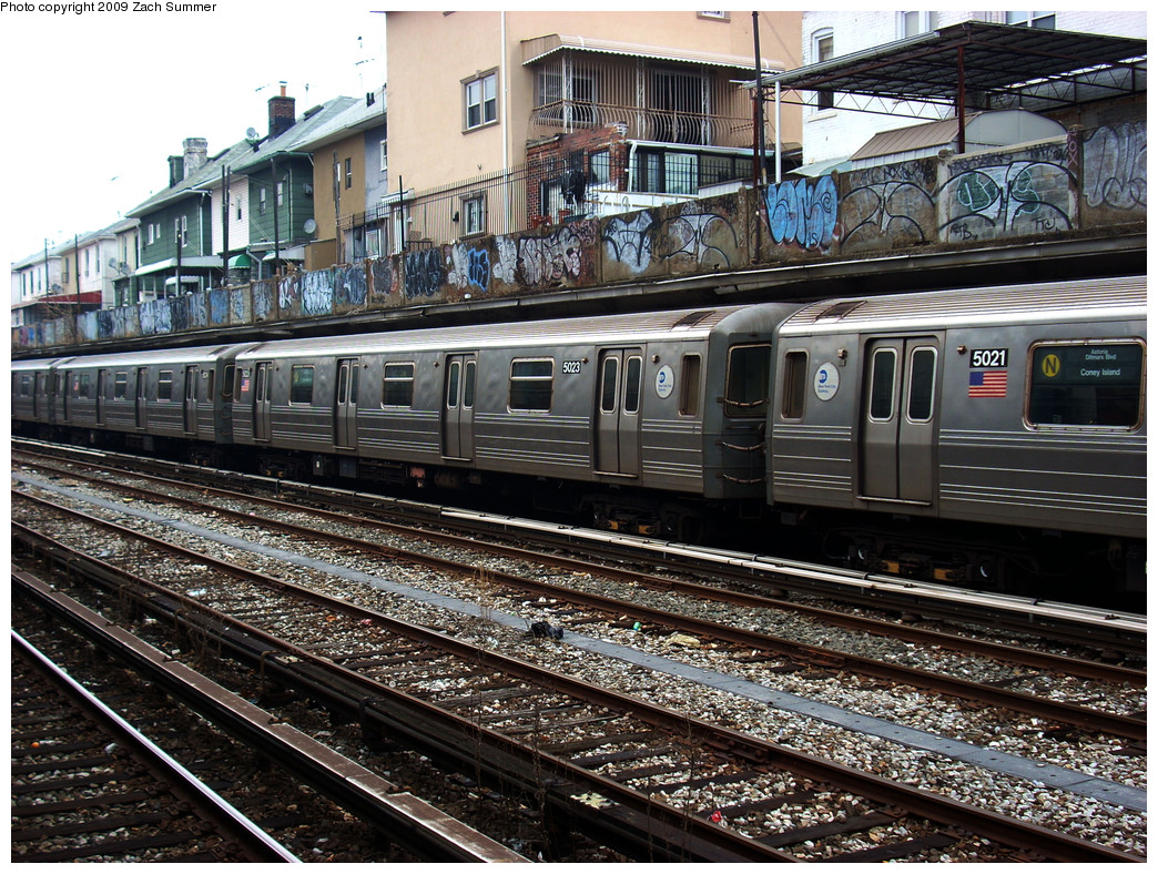 (398k, 1044x788)<br><b>Country:</b> United States<br><b>City:</b> New York<br><b>System:</b> New York City Transit<br><b>Line:</b> BMT Sea Beach Line<br><b>Location:</b> Avenue U <br><b>Route:</b> N<br><b>Car:</b> R-68A (Kawasaki, 1988-1989)  5023 <br><b>Photo by:</b> Zach Summer<br><b>Date:</b> 12/27/2008<br><b>Viewed (this week/total):</b> 2 / 1828