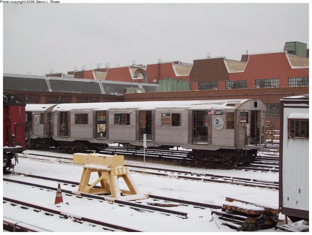(206k, 1044x788)<br><b>Country:</b> United States<br><b>City:</b> New York<br><b>System:</b> New York City Transit<br><b>Location:</b> 207th Street Shop<br><b>Car:</b> R-32 (Budd, 1964)  3867 <br><b>Photo by:</b> Glenn L. Rowe<br><b>Date:</b> 1/15/2009<br><b>Notes:</b> Scrap<br><b>Viewed (this week/total):</b> 1 / 1234