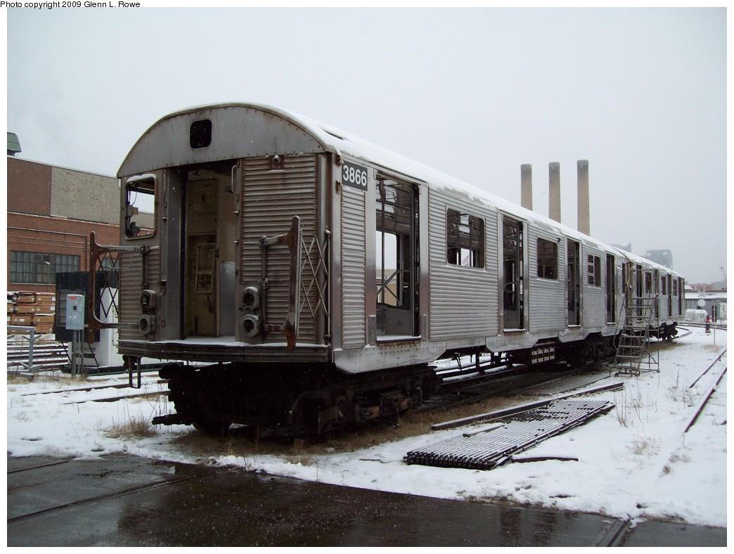 (208k, 1044x788)<br><b>Country:</b> United States<br><b>City:</b> New York<br><b>System:</b> New York City Transit<br><b>Location:</b> 207th Street Shop<br><b>Car:</b> R-32 (Budd, 1964)  3866 <br><b>Photo by:</b> Glenn L. Rowe<br><b>Date:</b> 1/15/2009<br><b>Notes:</b> Scrap<br><b>Viewed (this week/total):</b> 0 / 1182