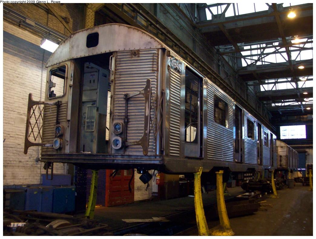 (239k, 1044x788)<br><b>Country:</b> United States<br><b>City:</b> New York<br><b>System:</b> New York City Transit<br><b>Location:</b> 207th Street Shop<br><b>Car:</b> R-32 (Budd, 1964)  3949 <br><b>Photo by:</b> Glenn L. Rowe<br><b>Date:</b> 1/15/2009<br><b>Notes:</b> Scrap<br><b>Viewed (this week/total):</b> 0 / 1528