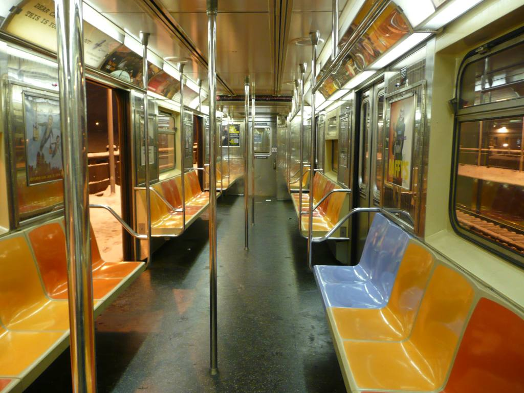 (135k, 1024x768)<br><b>Country:</b> United States<br><b>City:</b> New York<br><b>System:</b> New York City Transit<br><b>Car:</b> R-62A (Bombardier, 1984-1987)  2323 <br><b>Photo by:</b> Robbie Rosenfeld<br><b>Date:</b> 1/19/2009<br><b>Notes:</b> Blue replacement seat.<br><b>Viewed (this week/total):</b> 1 / 1357