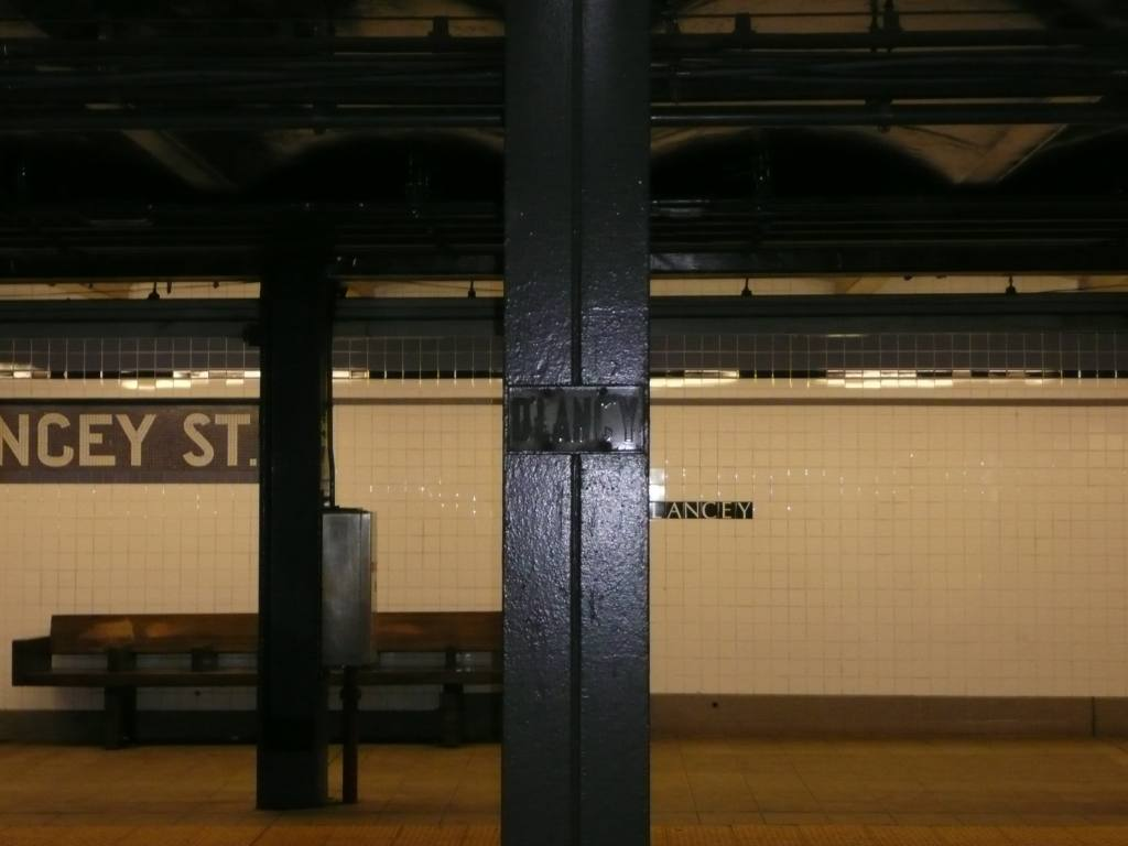 (84k, 1024x768)<br><b>Country:</b> United States<br><b>City:</b> New York<br><b>System:</b> New York City Transit<br><b>Line:</b> IND 6th Avenue Line<br><b>Location:</b> Delancey Street <br><b>Photo by:</b> Robbie Rosenfeld<br><b>Date:</b> 1/21/2009<br><b>Notes:</b> Old station sign on column.<br><b>Viewed (this week/total):</b> 0 / 1480