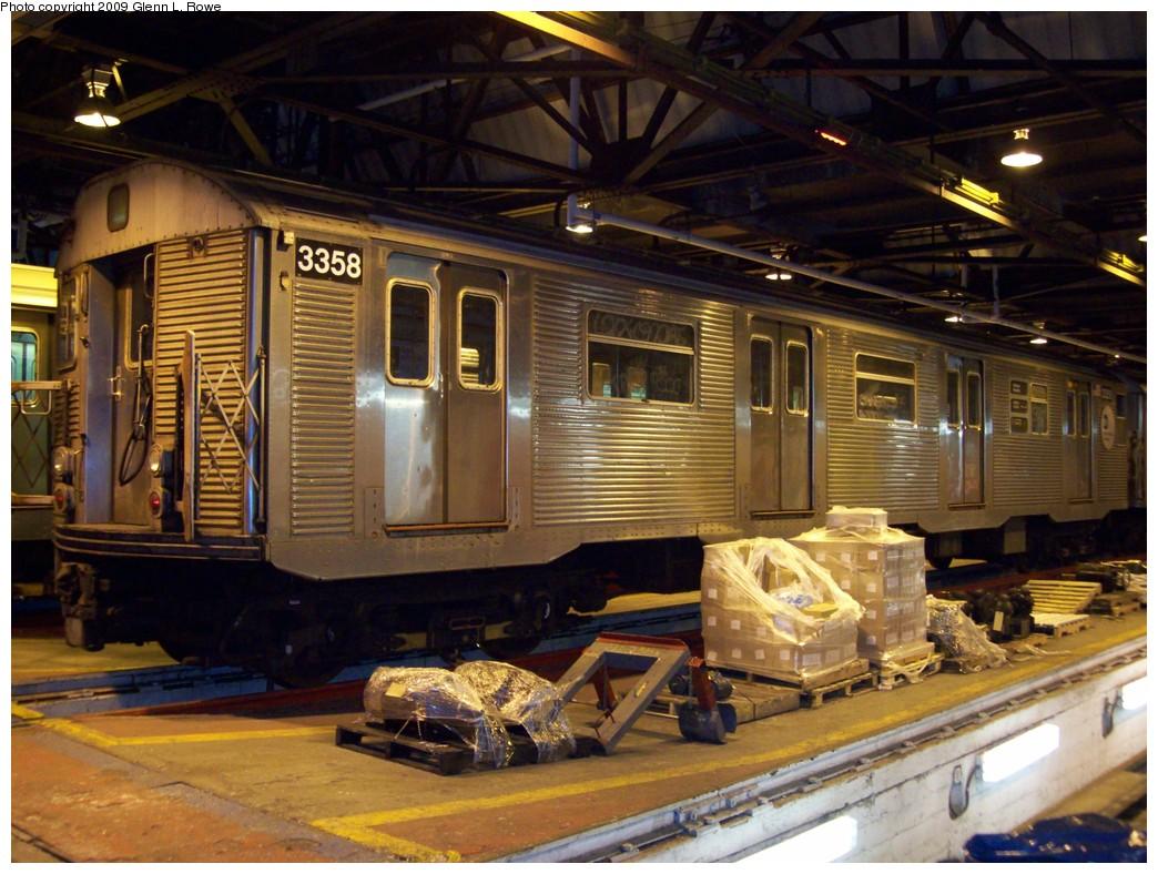 (237k, 1044x788)<br><b>Country:</b> United States<br><b>City:</b> New York<br><b>System:</b> New York City Transit<br><b>Location:</b> 207th Street Shop<br><b>Car:</b> R-32 (Budd, 1964)  3358 <br><b>Photo by:</b> Glenn L. Rowe<br><b>Date:</b> 1/20/2009<br><b>Viewed (this week/total):</b> 0 / 1411