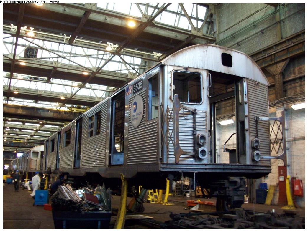 (259k, 1044x788)<br><b>Country:</b> United States<br><b>City:</b> New York<br><b>System:</b> New York City Transit<br><b>Location:</b> 207th Street Shop<br><b>Car:</b> R-32 (Budd, 1964)  3535 <br><b>Photo by:</b> Glenn L. Rowe<br><b>Date:</b> 1/22/2009<br><b>Notes:</b> Scrap<br><b>Viewed (this week/total):</b> 1 / 1136