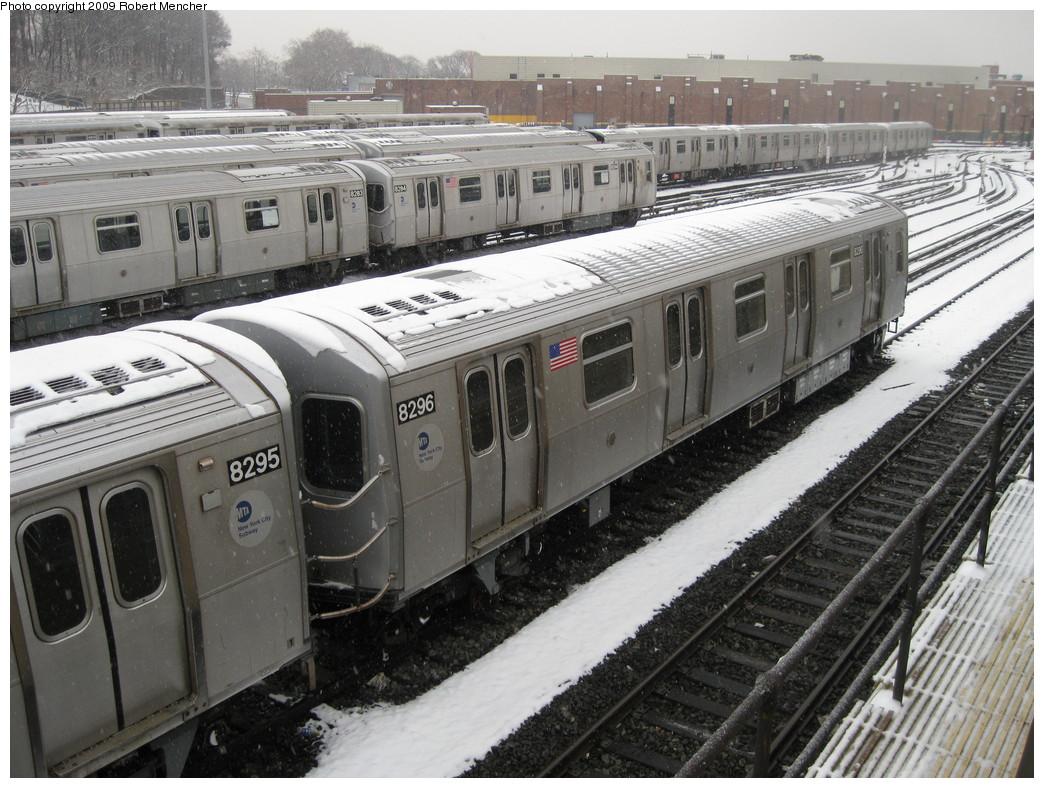 (254k, 1044x788)<br><b>Country:</b> United States<br><b>City:</b> New York<br><b>System:</b> New York City Transit<br><b>Location:</b> East New York Yard/Shops<br><b>Car:</b> R-143 (Kawasaki, 2001-2002) 8296 <br><b>Photo by:</b> Robert Mencher<br><b>Date:</b> 1/19/2009<br><b>Viewed (this week/total):</b> 2 / 1198