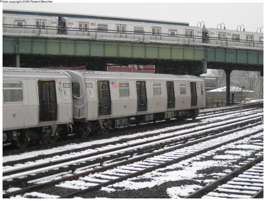 (258k, 1044x788)<br><b>Country:</b> United States<br><b>City:</b> New York<br><b>System:</b> New York City Transit<br><b>Location:</b> East New York Yard/Shops<br><b>Car:</b> R-160A-1 (Alstom, 2005-2008, 4 car sets)  8384 <br><b>Photo by:</b> Robert Mencher<br><b>Date:</b> 1/19/2009<br><b>Notes:</b> With R160A 8439 on L<br><b>Viewed (this week/total):</b> 1 / 1614