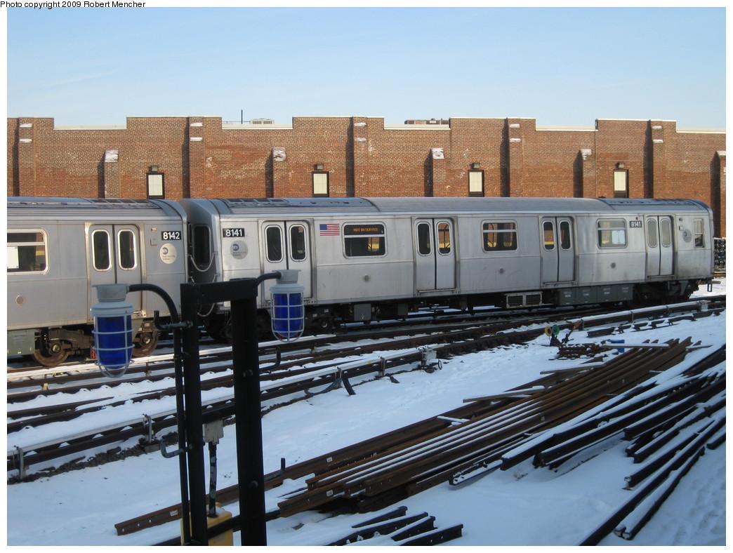 (241k, 1044x788)<br><b>Country:</b> United States<br><b>City:</b> New York<br><b>System:</b> New York City Transit<br><b>Location:</b> East New York Yard/Shops<br><b>Car:</b> R-143 (Kawasaki, 2001-2002) 8141 <br><b>Photo by:</b> Robert Mencher<br><b>Date:</b> 1/20/2009<br><b>Viewed (this week/total):</b> 0 / 1043