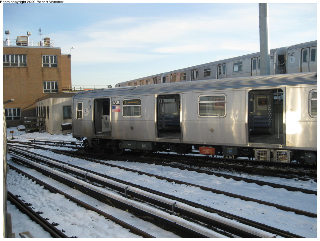 (215k, 1044x788)<br><b>Country:</b> United States<br><b>City:</b> New York<br><b>System:</b> New York City Transit<br><b>Location:</b> East New York Yard/Shops<br><b>Car:</b> R-160A-1 (Alstom, 2005-2008, 4 car sets)  8388 <br><b>Photo by:</b> Robert Mencher<br><b>Date:</b> 1/21/2009<br><b>Viewed (this week/total):</b> 0 / 1397