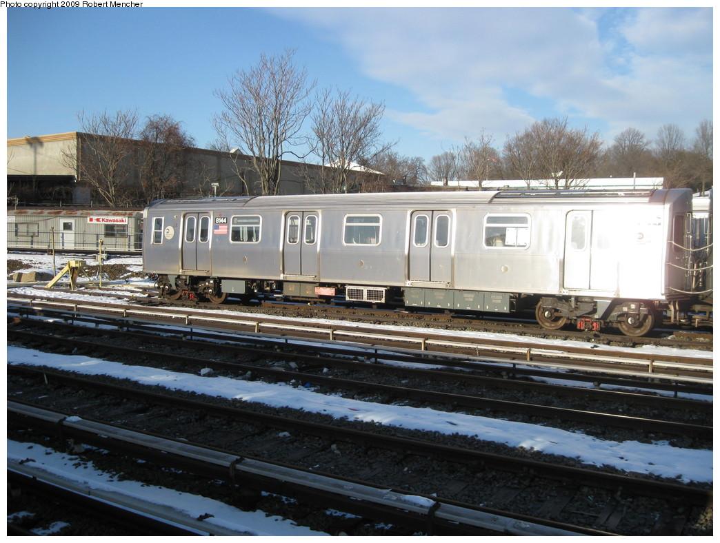(240k, 1044x788)<br><b>Country:</b> United States<br><b>City:</b> New York<br><b>System:</b> New York City Transit<br><b>Location:</b> East New York Yard/Shops<br><b>Car:</b> R-143 (Kawasaki, 2001-2002) 8144 <br><b>Photo by:</b> Robert Mencher<br><b>Date:</b> 1/21/2009<br><b>Viewed (this week/total):</b> 0 / 1471