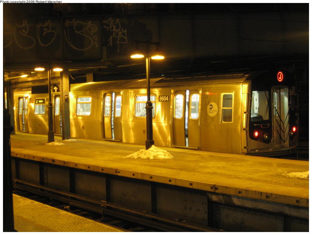 (209k, 1044x788)<br><b>Country:</b> United States<br><b>City:</b> New York<br><b>System:</b> New York City Transit<br><b>Line:</b> BMT Nassau Street/Jamaica Line<br><b>Location:</b> Myrtle Avenue <br><b>Route:</b> J<br><b>Car:</b> R-160A-1 (Alstom, 2005-2008, 4 car sets)  8604 <br><b>Photo by:</b> Robert Mencher<br><b>Date:</b> 1/21/2009<br><b>Viewed (this week/total):</b> 0 / 1699