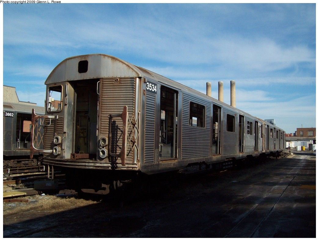 (189k, 1044x788)<br><b>Country:</b> United States<br><b>City:</b> New York<br><b>System:</b> New York City Transit<br><b>Location:</b> 207th Street Yard<br><b>Car:</b> R-32 (Budd, 1964)  3534 <br><b>Photo by:</b> Glenn L. Rowe<br><b>Date:</b> 1/26/2009<br><b>Notes:</b> Scrap<br><b>Viewed (this week/total):</b> 1 / 934