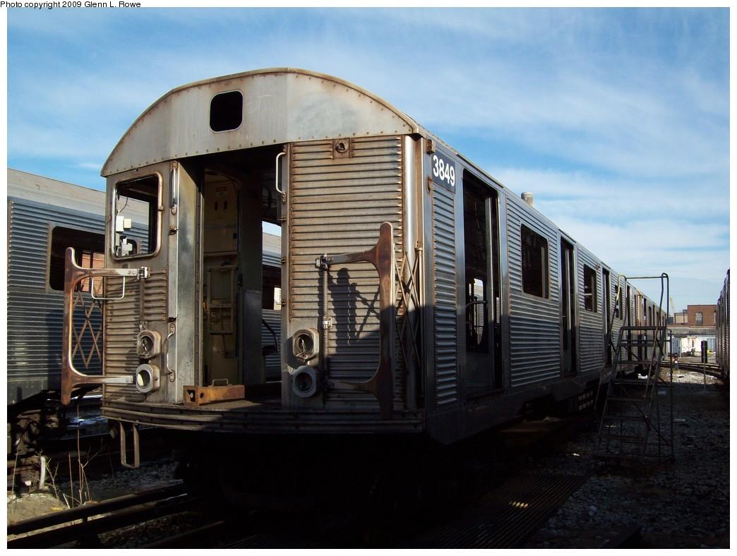 (204k, 1044x788)<br><b>Country:</b> United States<br><b>City:</b> New York<br><b>System:</b> New York City Transit<br><b>Location:</b> 207th Street Yard<br><b>Car:</b> R-32 (Budd, 1964)  3849 <br><b>Photo by:</b> Glenn L. Rowe<br><b>Date:</b> 1/26/2009<br><b>Notes:</b> Scrap<br><b>Viewed (this week/total):</b> 0 / 944