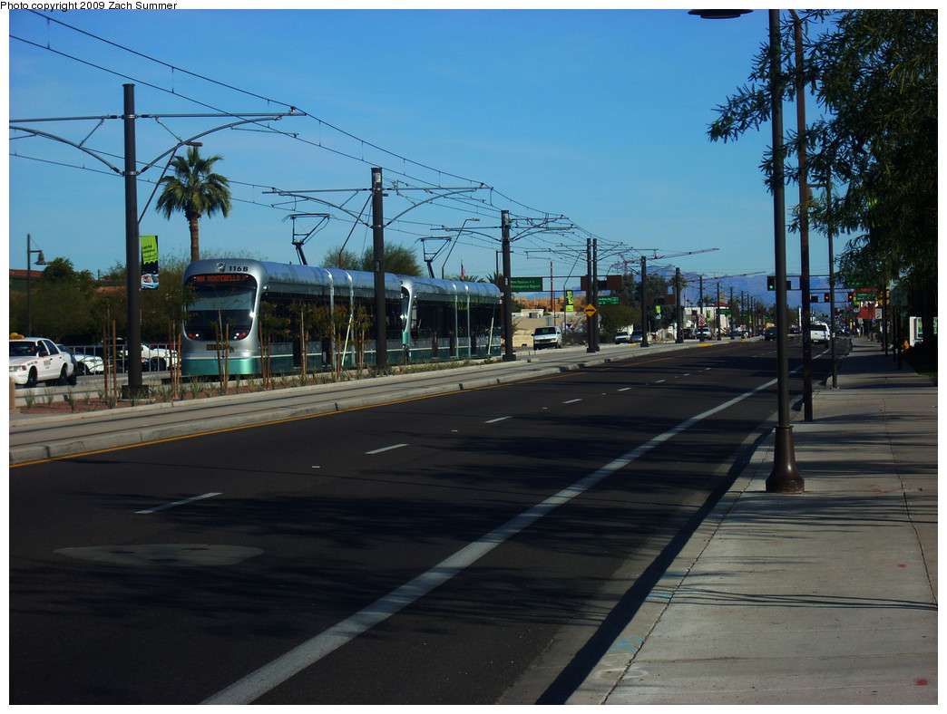 (262k, 1044x788)<br><b>Country:</b> United States<br><b>City:</b> Phoenix/Tempe, AZ<br><b>System:</b> Valley Metro <br><b>Location:</b> Apache/Dorsey (Tempe) <br><b>Car:</b>  116 <br><b>Photo by:</b> Zach Summer<br><b>Date:</b> 1/11/2009<br><b>Viewed (this week/total):</b> 0 / 467