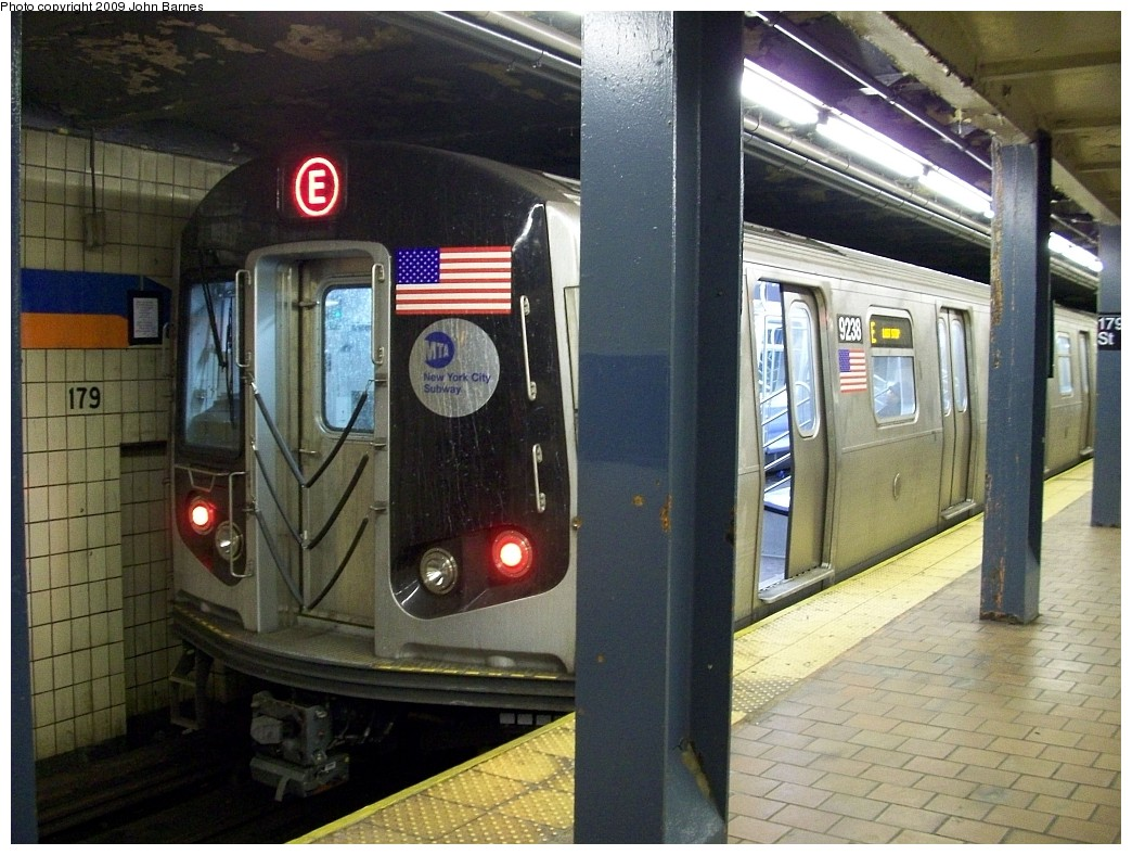 (240k, 1044x788)<br><b>Country:</b> United States<br><b>City:</b> New York<br><b>System:</b> New York City Transit<br><b>Line:</b> IND Queens Boulevard Line<br><b>Location:</b> 179th Street <br><b>Route:</b> E reroute<br><b>Car:</b> R-160A (Option 1) (Alstom, 2008-2009, 5 car sets)  9238 <br><b>Photo by:</b> John Barnes<br><b>Date:</b> 1/24/2009<br><b>Viewed (this week/total):</b> 0 / 1998