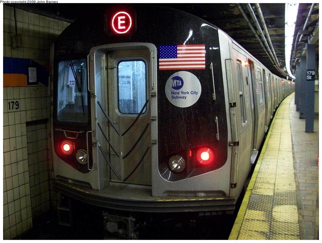 (228k, 1044x788)<br><b>Country:</b> United States<br><b>City:</b> New York<br><b>System:</b> New York City Transit<br><b>Line:</b> IND Queens Boulevard Line<br><b>Location:</b> 179th Street <br><b>Route:</b> E reroute<br><b>Car:</b> R-160A (Option 1) (Alstom, 2008-2009, 5 car sets)  9238 <br><b>Photo by:</b> John Barnes<br><b>Date:</b> 1/24/2009<br><b>Viewed (this week/total):</b> 4 / 1952