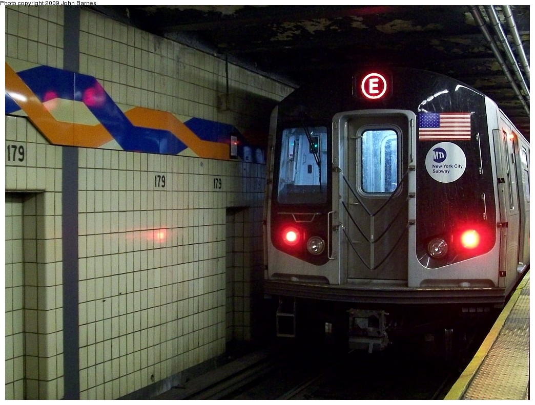 (230k, 1044x791)<br><b>Country:</b> United States<br><b>City:</b> New York<br><b>System:</b> New York City Transit<br><b>Line:</b> IND Queens Boulevard Line<br><b>Location:</b> 179th Street <br><b>Route:</b> E reroute<br><b>Car:</b> R-160A (Option 1) (Alstom, 2008-2009, 5 car sets)  9238 <br><b>Photo by:</b> John Barnes<br><b>Date:</b> 1/24/2009<br><b>Viewed (this week/total):</b> 0 / 2207