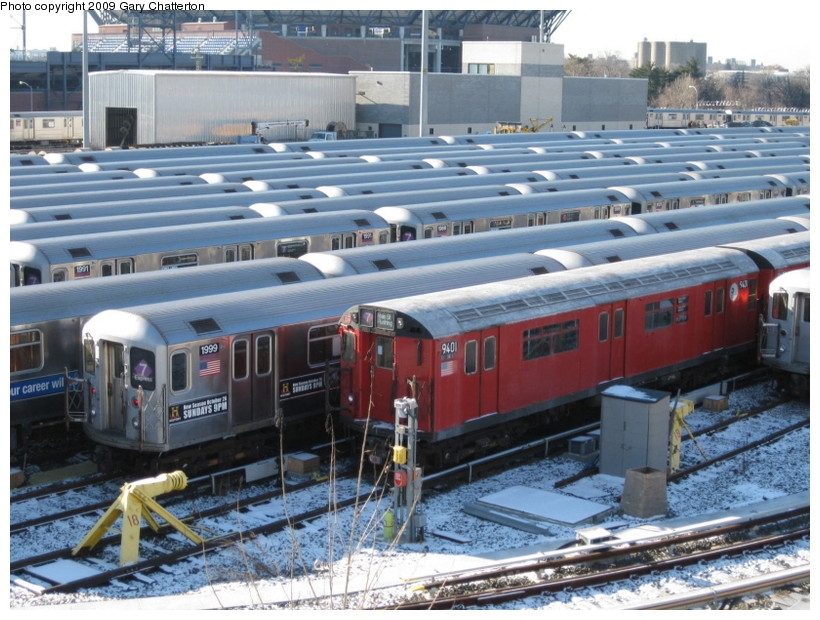 (169k, 820x620)<br><b>Country:</b> United States<br><b>City:</b> New York<br><b>System:</b> New York City Transit<br><b>Location:</b> Corona Yard<br><b>Car:</b> R-36 World's Fair (St. Louis, 1963-64) 9401 <br><b>Photo by:</b> Gary Chatterton<br><b>Date:</b> 1/17/2009<br><b>Viewed (this week/total):</b> 1 / 1484