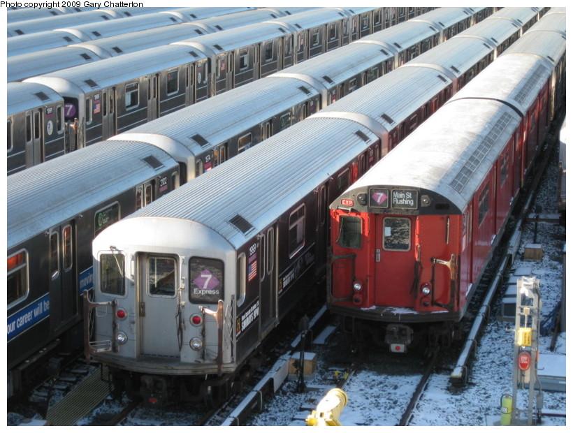 (164k, 820x620)<br><b>Country:</b> United States<br><b>City:</b> New York<br><b>System:</b> New York City Transit<br><b>Location:</b> Corona Yard<br><b>Car:</b> R-62A (Bombardier, 1984-1987)  1999 <br><b>Photo by:</b> Gary Chatterton<br><b>Date:</b> 1/17/2009<br><b>Notes:</b> With R36 9401<br><b>Viewed (this week/total):</b> 3 / 1771