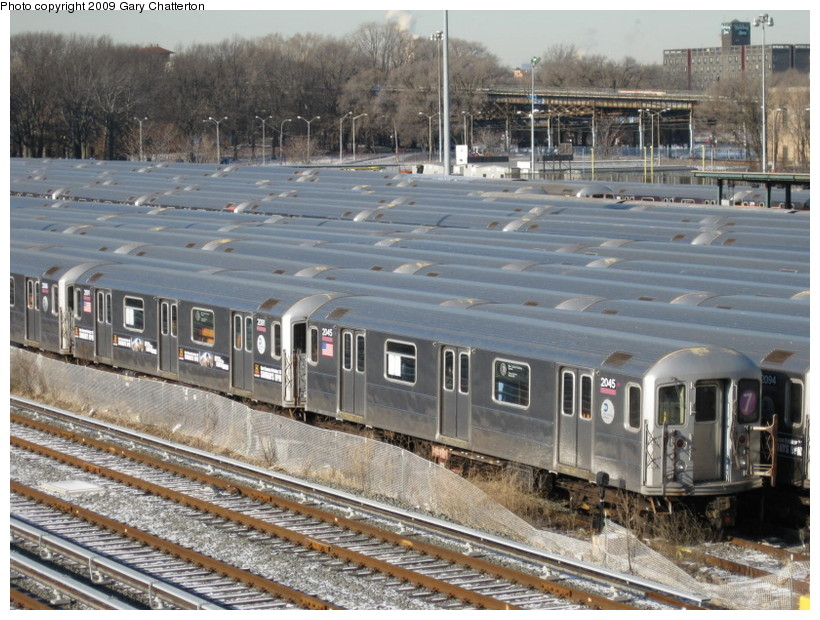 (174k, 820x620)<br><b>Country:</b> United States<br><b>City:</b> New York<br><b>System:</b> New York City Transit<br><b>Location:</b> Corona Yard<br><b>Car:</b> R-62A (Bombardier, 1984-1987)  2045 <br><b>Photo by:</b> Gary Chatterton<br><b>Date:</b> 1/17/2009<br><b>Viewed (this week/total):</b> 4 / 1562