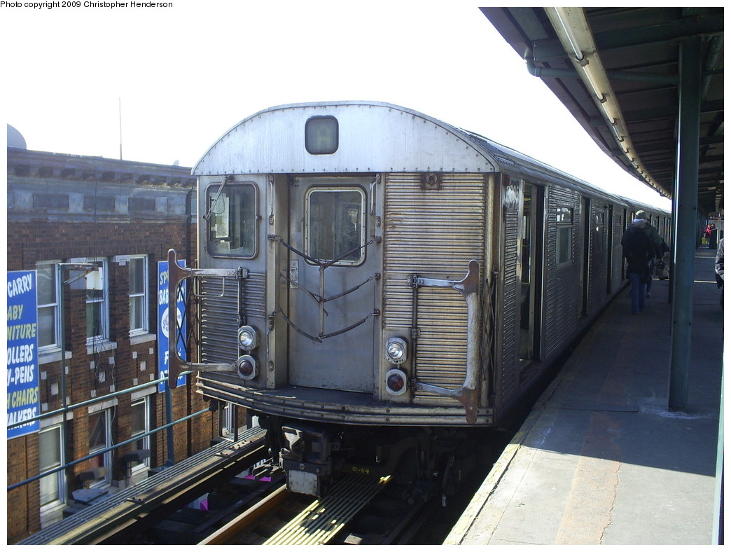 (260k, 1044x788)<br><b>Country:</b> United States<br><b>City:</b> New York<br><b>System:</b> New York City Transit<br><b>Line:</b> IND Fulton Street Line<br><b>Location:</b> Lefferts Boulevard <br><b>Route:</b> A<br><b>Car:</b> R-32 (Budd, 1964)  3695 <br><b>Photo by:</b> Christopher Henderson<br><b>Date:</b> 1/26/2009<br><b>Viewed (this week/total):</b> 0 / 1014
