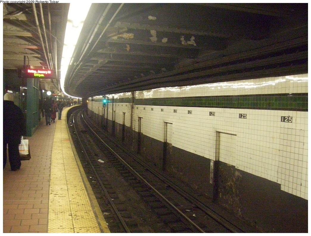 (262k, 1044x791)<br><b>Country:</b> United States<br><b>City:</b> New York<br><b>System:</b> New York City Transit<br><b>Line:</b> IND 8th Avenue Line<br><b>Location:</b> 125th Street <br><b>Photo by:</b> Roberto C. Tobar<br><b>Date:</b> 1/30/2009<br><b>Notes:</b> Station view<br><b>Viewed (this week/total):</b> 0 / 2088