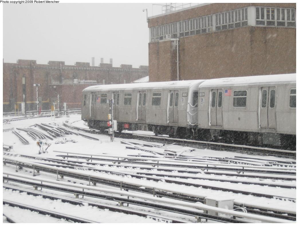 (217k, 1044x788)<br><b>Country:</b> United States<br><b>City:</b> New York<br><b>System:</b> New York City Transit<br><b>Location:</b> East New York Yard/Shops<br><b>Car:</b> R-160A-1 (Alstom, 2005-2008, 4 car sets)  8558 <br><b>Photo by:</b> Robert Mencher<br><b>Date:</b> 2/3/2009<br><b>Viewed (this week/total):</b> 0 / 1214
