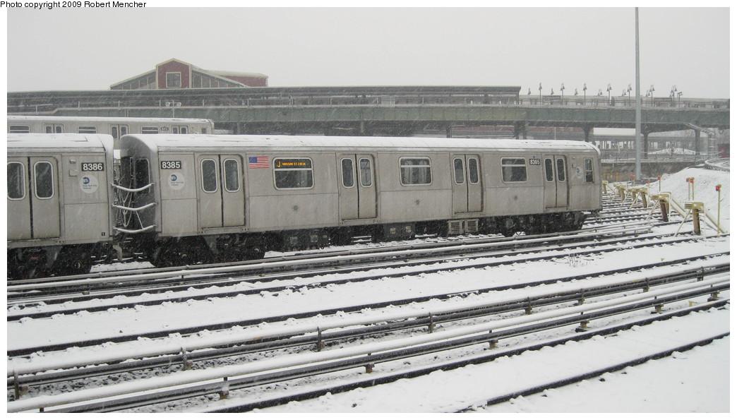 (182k, 1044x595)<br><b>Country:</b> United States<br><b>City:</b> New York<br><b>System:</b> New York City Transit<br><b>Location:</b> East New York Yard/Shops<br><b>Car:</b> R-160A-1 (Alstom, 2005-2008, 4 car sets)  8385 <br><b>Photo by:</b> Robert Mencher<br><b>Date:</b> 2/3/2009<br><b>Viewed (this week/total):</b> 1 / 1139