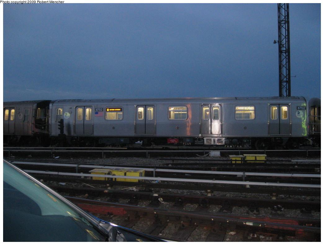 (197k, 1044x788)<br><b>Country:</b> United States<br><b>City:</b> New York<br><b>System:</b> New York City Transit<br><b>Location:</b> Coney Island Yard<br><b>Car:</b> R-160A-2 (Alstom, 2005-2008, 5 car sets)  8702 <br><b>Photo by:</b> Robert Mencher<br><b>Date:</b> 2/11/2009<br><b>Viewed (this week/total):</b> 0 / 1850