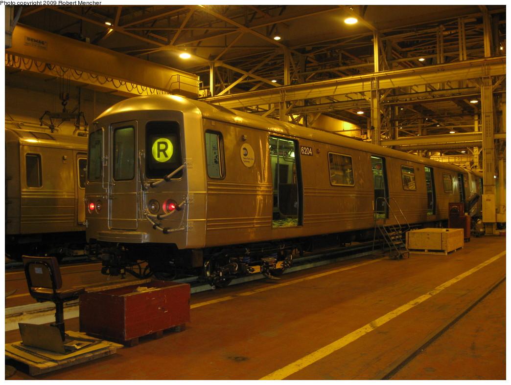 (239k, 1044x788)<br><b>Country:</b> United States<br><b>City:</b> New York<br><b>System:</b> New York City Transit<br><b>Location:</b> Coney Island Shop/Overhaul & Repair Shop<br><b>Car:</b> R-46 (Pullman-Standard, 1974-75) 6204 <br><b>Photo by:</b> Robert Mencher<br><b>Date:</b> 2/11/2009<br><b>Viewed (this week/total):</b> 3 / 1569