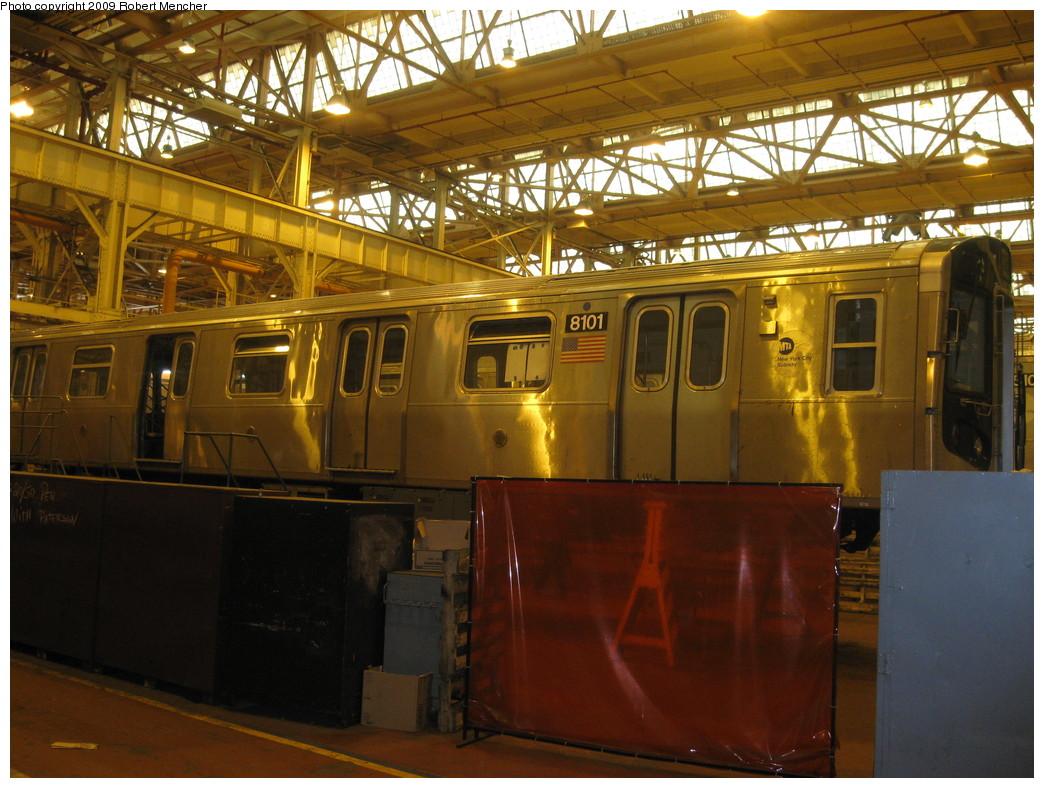 (247k, 1044x788)<br><b>Country:</b> United States<br><b>City:</b> New York<br><b>System:</b> New York City Transit<br><b>Location:</b> Coney Island Shop/Overhaul & Repair Shop<br><b>Car:</b> R-143 (Kawasaki, 2001-2002) 8101 <br><b>Photo by:</b> Robert Mencher<br><b>Date:</b> 2/11/2009<br><b>Viewed (this week/total):</b> 0 / 992