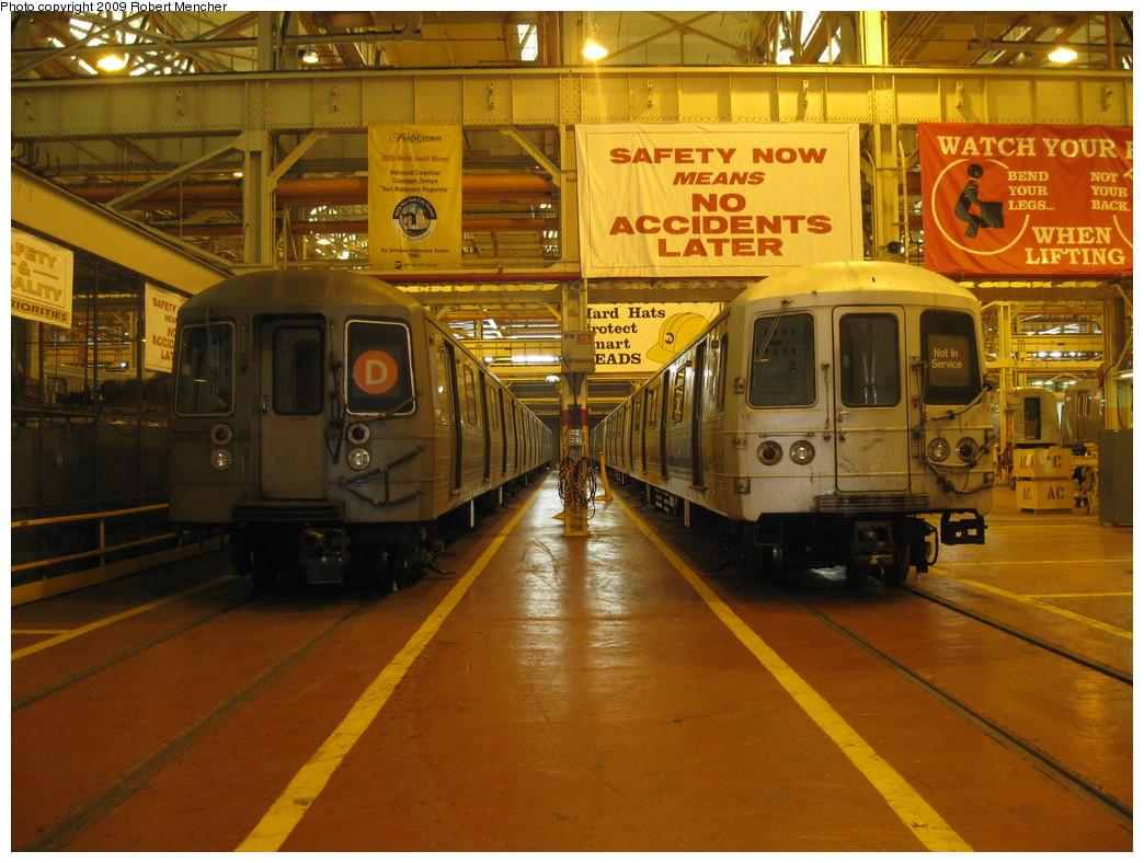 (262k, 1044x788)<br><b>Country:</b> United States<br><b>City:</b> New York<br><b>System:</b> New York City Transit<br><b>Location:</b> Coney Island Shop/Overhaul & Repair Shop<br><b>Car:</b> R-68 (Westinghouse-Amrail, 1986-1988)  2674 <br><b>Photo by:</b> Robert Mencher<br><b>Date:</b> 2/11/2009<br><b>Notes:</b> With R46 6170 on right.<br><b>Viewed (this week/total):</b> 0 / 1717