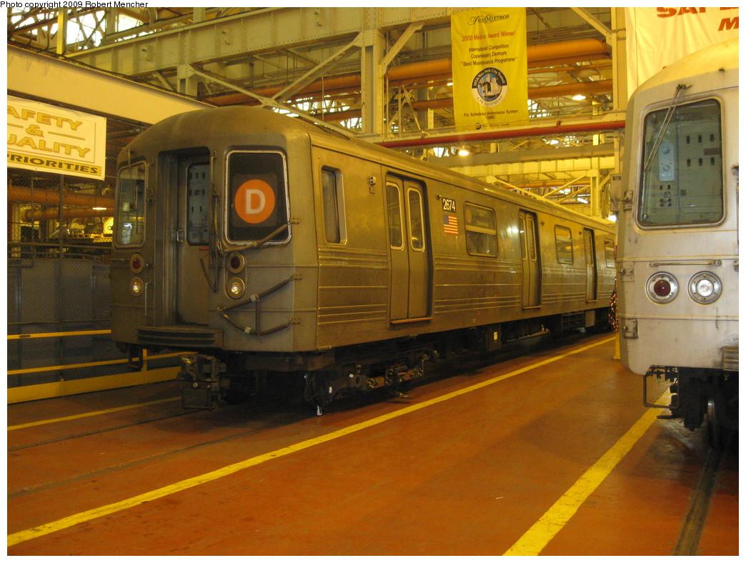 (251k, 1044x788)<br><b>Country:</b> United States<br><b>City:</b> New York<br><b>System:</b> New York City Transit<br><b>Location:</b> Coney Island Shop/Overhaul & Repair Shop<br><b>Car:</b> R-68 (Westinghouse-Amrail, 1986-1988)  2674 <br><b>Photo by:</b> Robert Mencher<br><b>Date:</b> 2/11/2009<br><b>Viewed (this week/total):</b> 0 / 1181