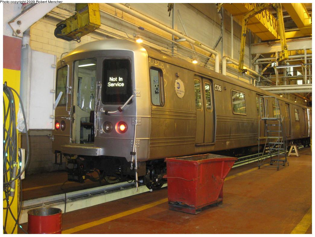 (260k, 1044x788)<br><b>Country:</b> United States<br><b>City:</b> New York<br><b>System:</b> New York City Transit<br><b>Location:</b> Coney Island Shop/Overhaul & Repair Shop<br><b>Car:</b> R-46 (Pullman-Standard, 1974-75) 5736 <br><b>Photo by:</b> Robert Mencher<br><b>Date:</b> 2/11/2009<br><b>Viewed (this week/total):</b> 7 / 1257