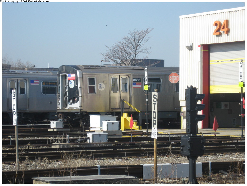 (220k, 1044x788)<br><b>Country:</b> United States<br><b>City:</b> New York<br><b>System:</b> New York City Transit<br><b>Location:</b> Coney Island Yard<br><b>Car:</b> R-160B (Kawasaki, 2005-2008)  8868 <br><b>Photo by:</b> Robert Mencher<br><b>Date:</b> 2/11/2009<br><b>Viewed (this week/total):</b> 0 / 1095