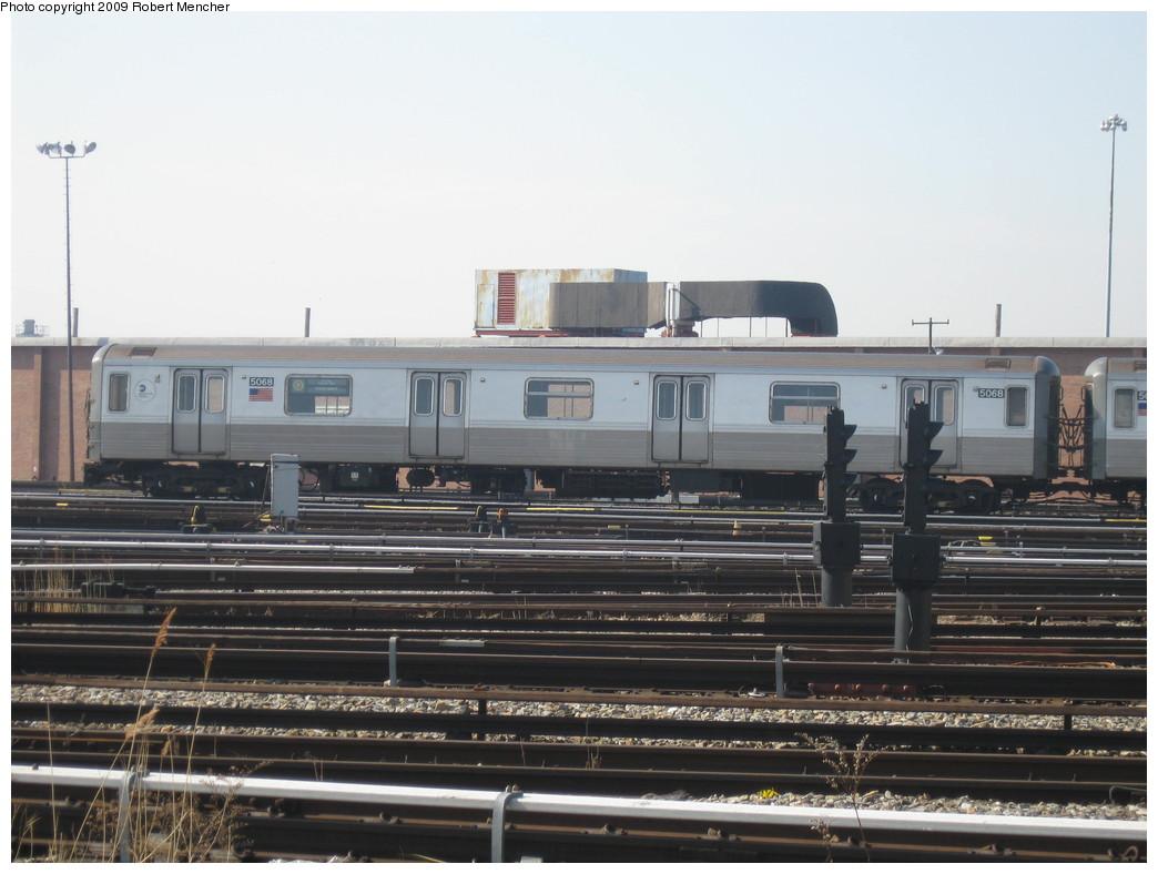 (186k, 1044x788)<br><b>Country:</b> United States<br><b>City:</b> New York<br><b>System:</b> New York City Transit<br><b>Location:</b> Coney Island Yard<br><b>Car:</b> R-68A (Kawasaki, 1988-1989)  5088 <br><b>Photo by:</b> Robert Mencher<br><b>Date:</b> 2/11/2009<br><b>Viewed (this week/total):</b> 0 / 984