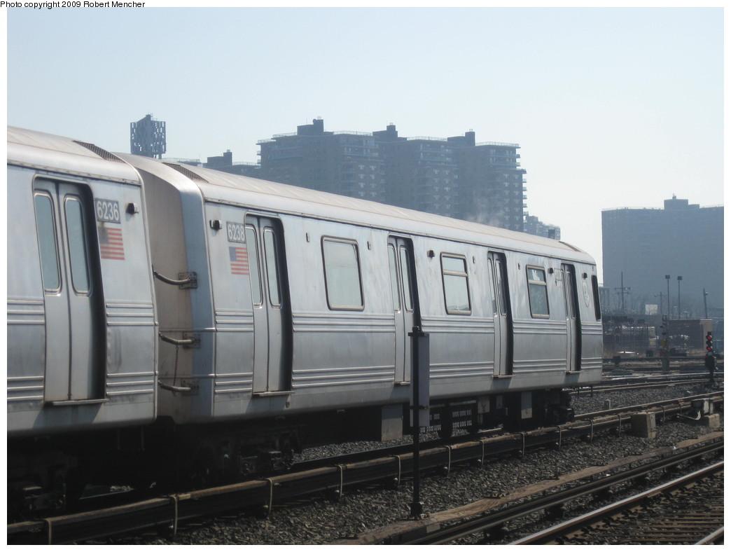 (166k, 1044x788)<br><b>Country:</b> United States<br><b>City:</b> New York<br><b>System:</b> New York City Transit<br><b>Location:</b> Coney Island Yard<br><b>Car:</b> R-46 (Pullman-Standard, 1974-75) 6238 <br><b>Photo by:</b> Robert Mencher<br><b>Date:</b> 2/11/2009<br><b>Viewed (this week/total):</b> 0 / 963