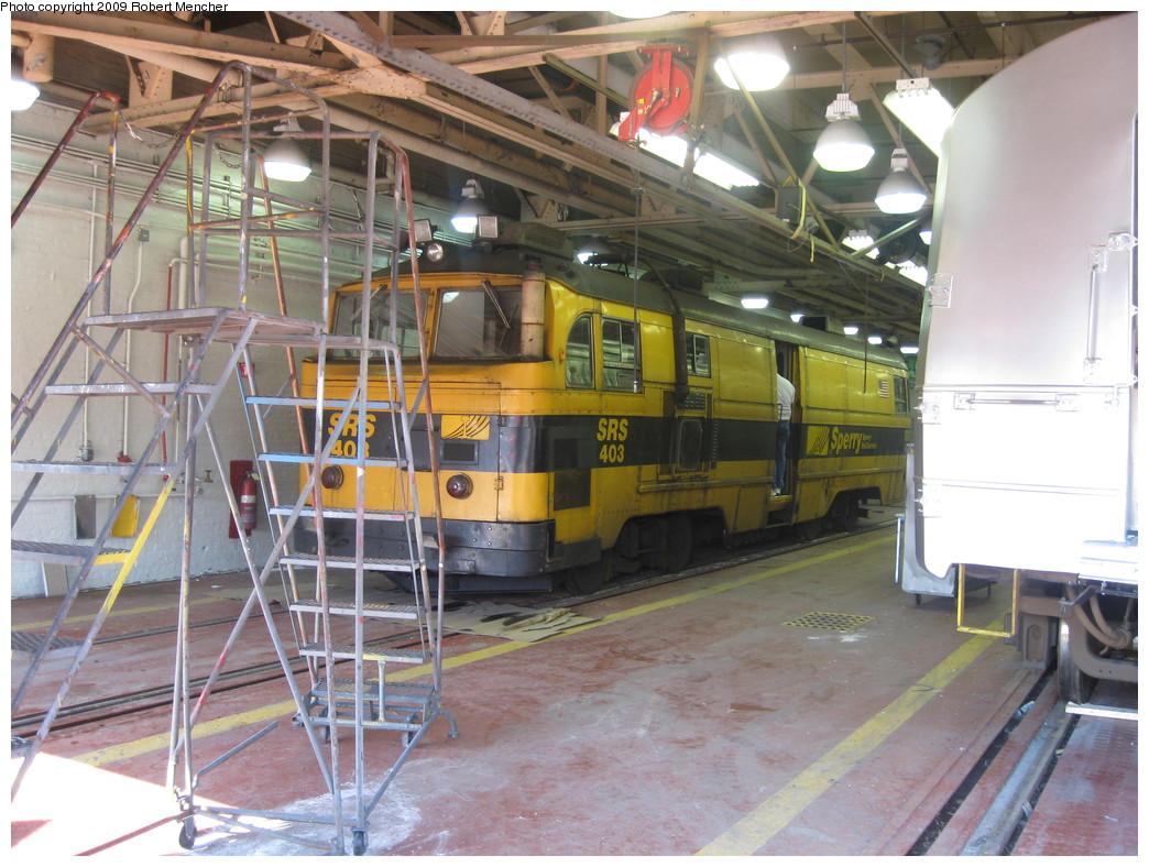 (247k, 1044x788)<br><b>Country:</b> United States<br><b>City:</b> New York<br><b>System:</b> New York City Transit<br><b>Location:</b> Coney Island Shop-Paint Shop<br><b>Car:</b> Sperry Rail Service 403 <br><b>Photo by:</b> Robert Mencher<br><b>Date:</b> 2/11/2009<br><b>Viewed (this week/total):</b> 0 / 1564