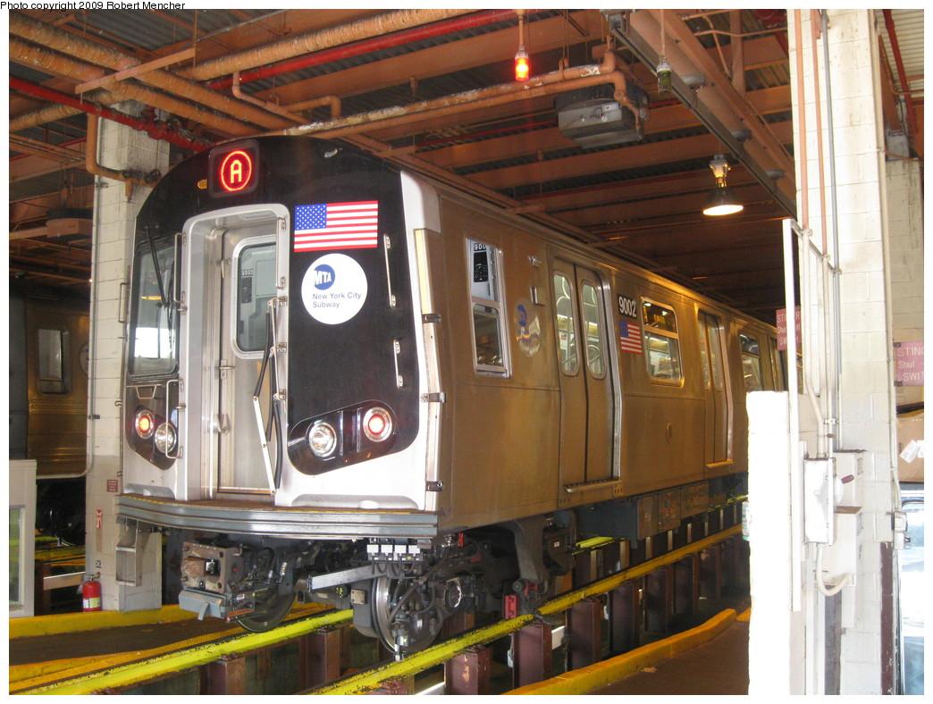(257k, 1044x788)<br><b>Country:</b> United States<br><b>City:</b> New York<br><b>System:</b> New York City Transit<br><b>Location:</b> Coney Island Shop/Maint. & Inspection Shop<br><b>Car:</b> R-160B (Option 1) (Kawasaki, 2008-2009)  9002 <br><b>Photo by:</b> Robert Mencher<br><b>Date:</b> 2/11/2009<br><b>Viewed (this week/total):</b> 1 / 1652