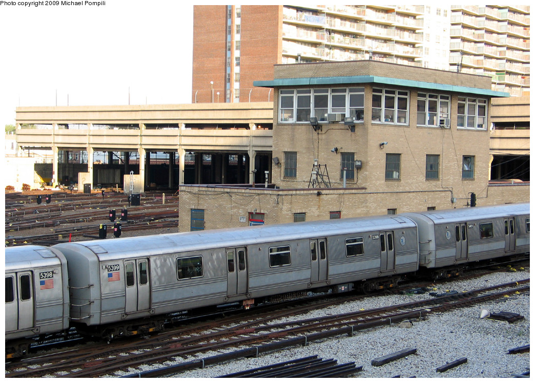 (326k, 1044x748)<br><b>Country:</b> United States<br><b>City:</b> New York<br><b>System:</b> New York City Transit<br><b>Location:</b> Pitkin Yard/Shops<br><b>Car:</b> R-44 (St. Louis, 1971-73) 5399 <br><b>Photo by:</b> Michael Pompili<br><b>Date:</b> 5/7/2004<br><b>Viewed (this week/total):</b> 4 / 1441